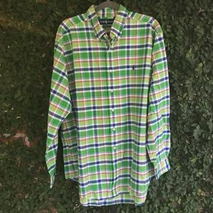 Ralph Lauren XL Casual Plaid Shirt Green Pink Blue